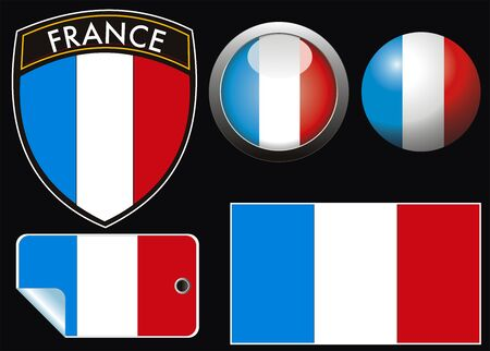 white patches: france grest flag with web button and label