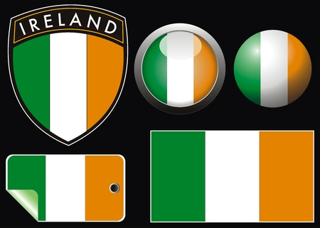 tricolors: ireland grest flag with web button and label
