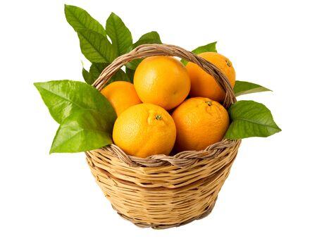 mand met sinaasappels en blad Stockfoto