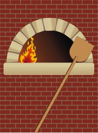 firewood oven with shovel on brick wall Vector