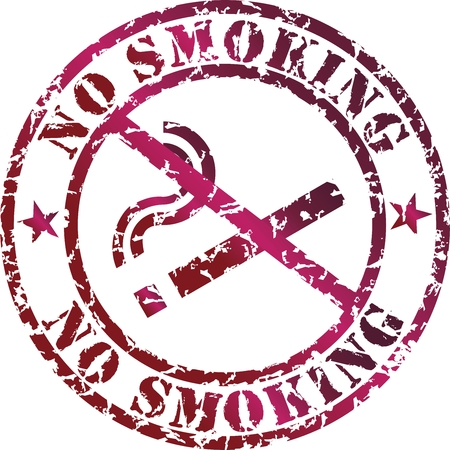Vector no smoking stamp with red ink Vector