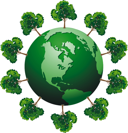 protecting: vector ecologic globe with tree Illustration