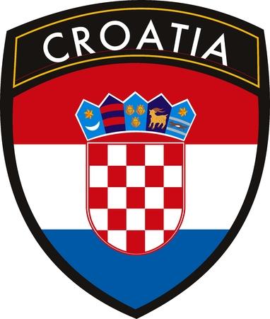 bandera croacia: Croacia vector cresta bandera Vectores