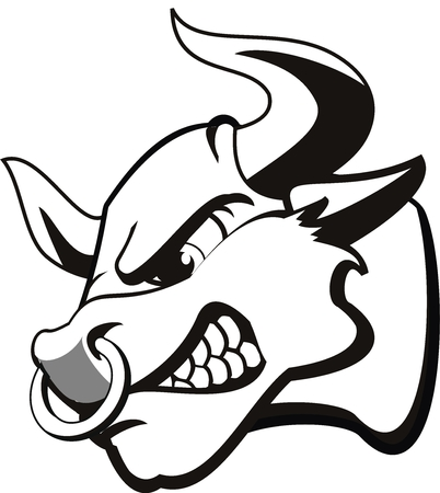 tatoeage van een rode stier. Heel boos  Stock Illustratie