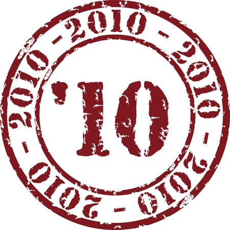 Vector year stamp with red ink Vector