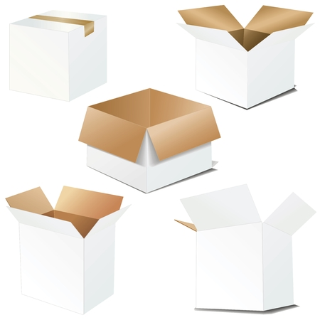 verhuis dozen: vector kartonnen dozen. Geopend en gesloten