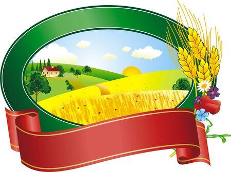 vector illustratie van het landschap in de zomer dag Stock Illustratie
