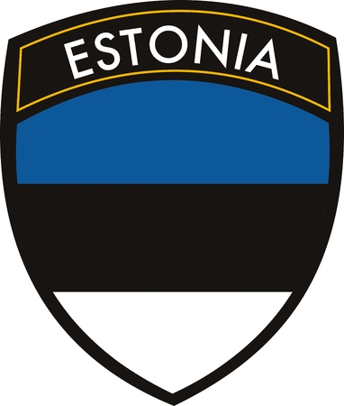 withe: vector estonia crest flag on withe background Illustration
