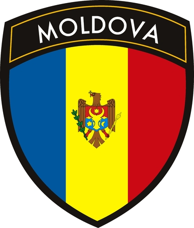 vector moldova crest flag on withe background Illustration