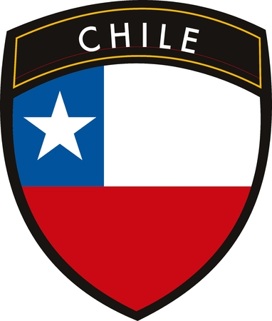 withe: vector Chile crest flag on withe background Illustration