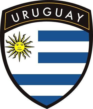 uruguay: vector uruguay crest flag on withe background Illustration