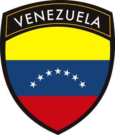 bandera de venezuela: vector de Venezuela en la cresta del pabell�n withe fondo Vectores