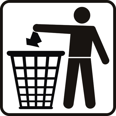 vector man and basket for ecology Vector