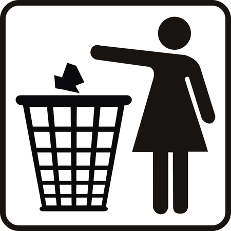 recycling campaign: vector woman and basket for ecology