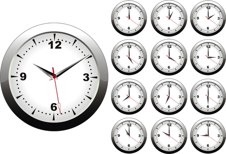 vector illustration of wall clock with 12 hours Vector