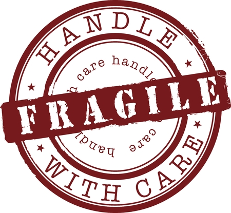 handle: Vector fragile stamp with red ink Illustration