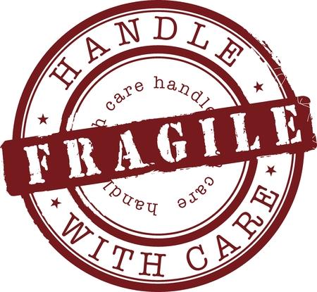 manejar: Vector sello fr�gil con tinta roja