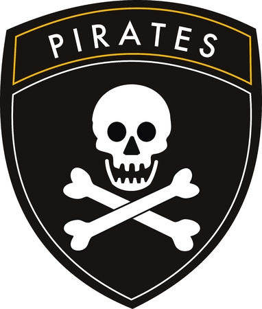 vector pirates crest flag on withe background