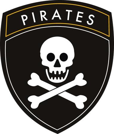 toppa: vettore di bandiera sulla cresta pirati withe background