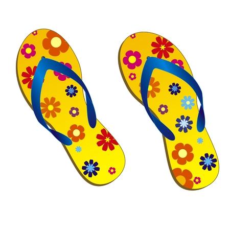 een paar gele strand-sandalen met bloemen-patroon. Vector