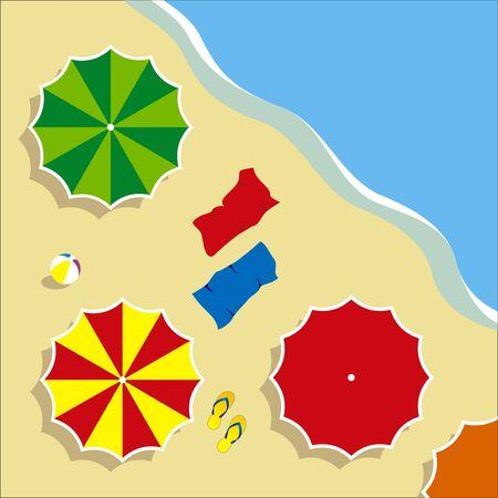 illustraion: vector illustraion of a beach with umbrella Illustration