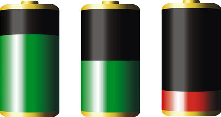 withe: vector Battery with various loads. Isolated on withe background