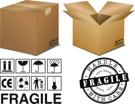 work crate: vector cardboard boxes with signs