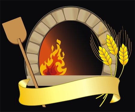 vector illustration of firewood oven with shovel and grain 일러스트