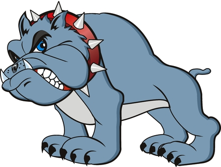 vector bulldog cartoon. Very angry 일러스트