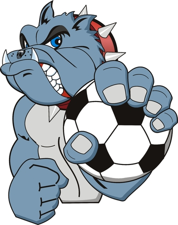A Cartoon soccer bulldog. Vector