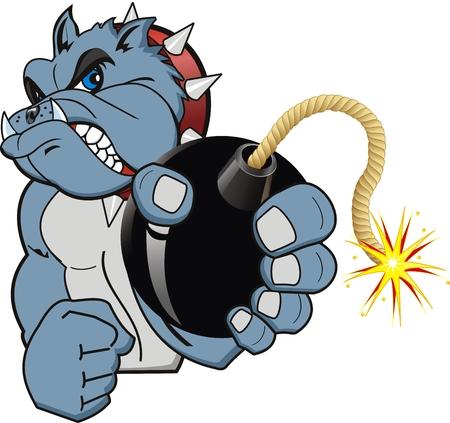 a bomb: A Cartoon bomb bulldog. Vector Illustration