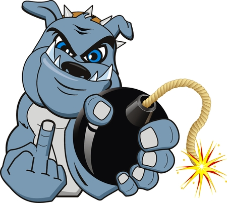 detonate: A Cartoon bomb bulldog. Vector Illustration