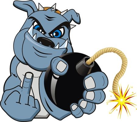 cartoon bomb: A Cartoon bomb bulldog. Vector Illustration