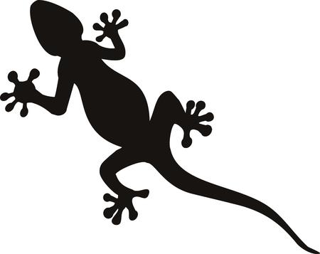 tatuaje de gecko de vector aislado sobre fondo de contundencia  Ilustración de vector