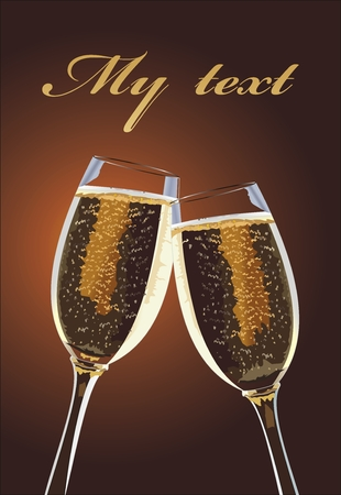 champagne celebration: Two Champagne glass on brown background. Illustration