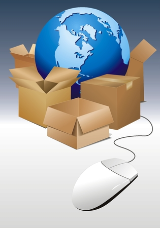 vector illustration of world globe with boxes and mouse 일러스트