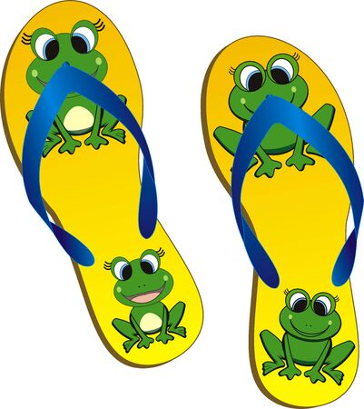 sandal: a pair of yellow beach-sandals with frog-pattern Illustration