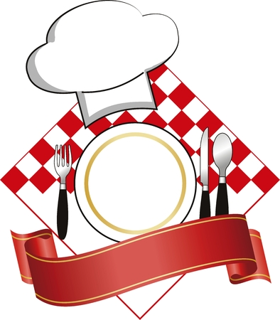 design with plate and hat for restaurant