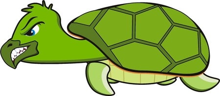 cartoon of a green angry turtle Vector