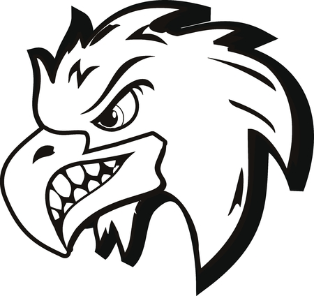illustration of angry eagle tattoo Vector