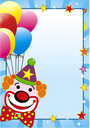 illustration with balloon and clown for party Ilustração