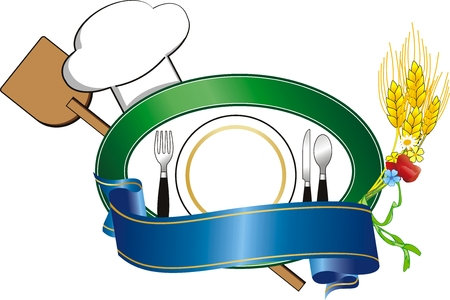 illustration with plate and hat for restaurant Ilustração