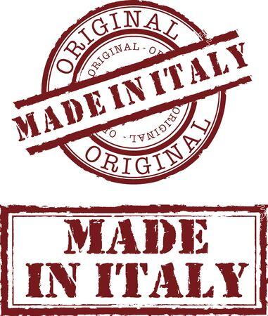 gemaakt in Italië stempel met rode inkt Stock Illustratie