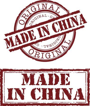 gemaakt in china stempel met rode inkt