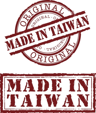 made in taiwan stamp with red ink