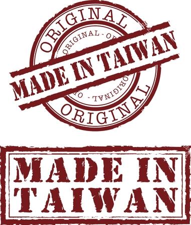 gemaakt in de Taiwanese stempel met rode inkt
