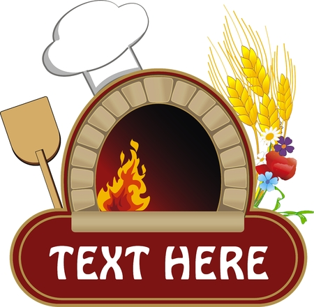 vector illustration of firewood oven with shovel and grain Stock Illustratie