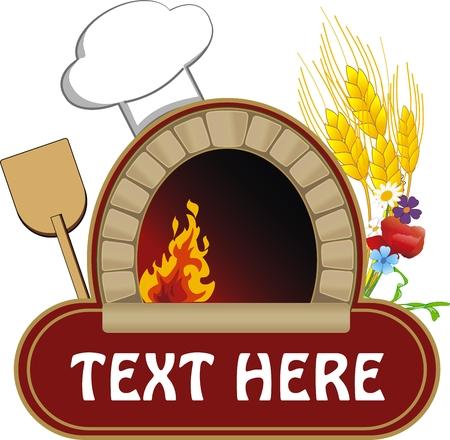 vector afbeelding van brand hout oven met een schop en graan