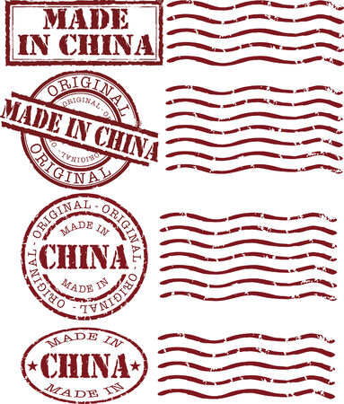 Vector made in china stamp with red ink Stock Vector - 6295213