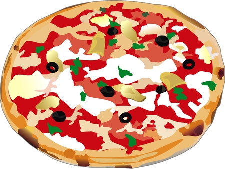 withe: vector pizza isolated on withe background Illustration